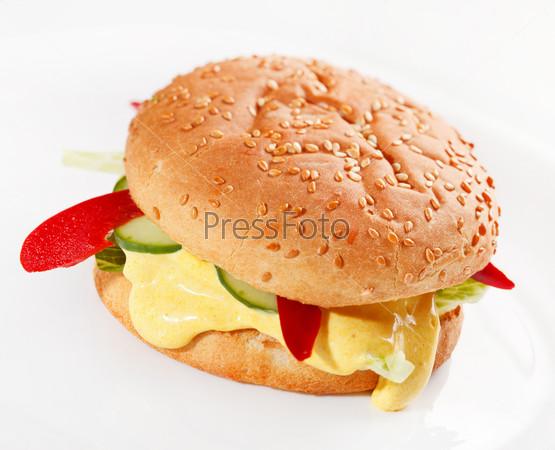 Фотография на тему Бургер на белом фоне