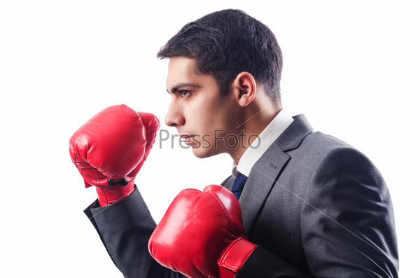 Фотография на тему Молодой предприниматель в боксерских перчатках