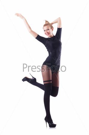 Фотография на тему Женщина танцует, изолированная на белом фоне