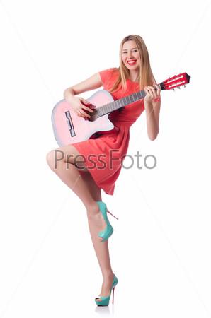 Фотография на тему Женщина играет на гитаре, изолированная на белом фоне