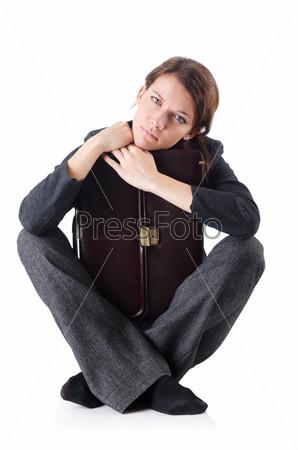 Обанкротившаяся деловая женщина, изолированная на белом