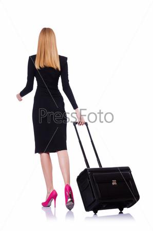 Бизнес-леди с чемоданом на белом фоне