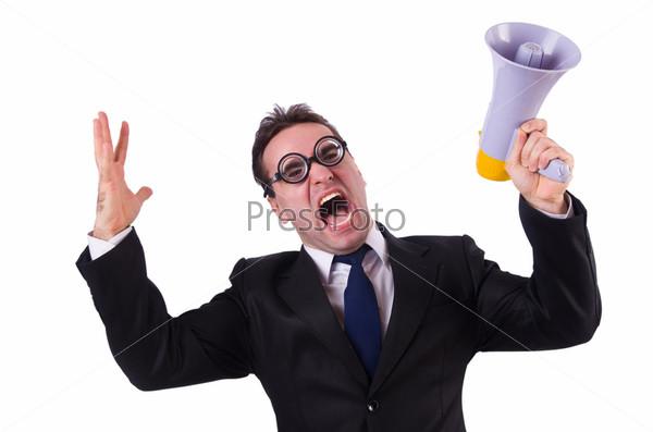 Фотография на тему Молодой предприниматель с громкоговорителем на белом фоне