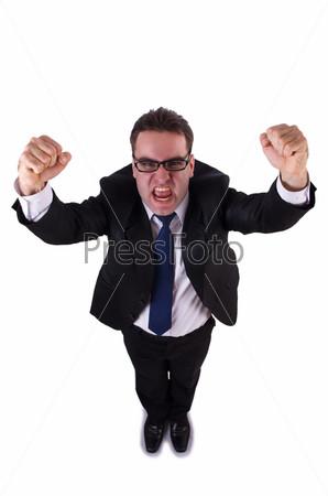 Фотография на тему Молодой смешной бизнесмен на белом фоне