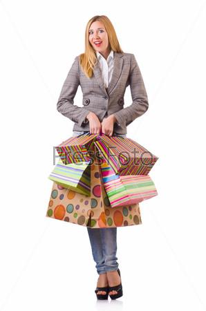 Фотография на тему Молодая женщина с пакетами