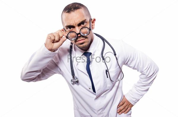 Фотография на тему Забавный врач, изолированный на белом фоне