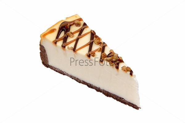 Фотография на тему Шоколадный чизкейк на белом фоне