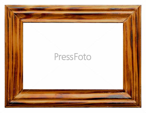Деревянная рамка на белом фоне