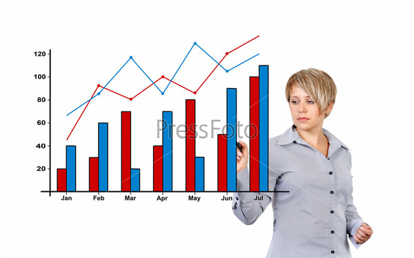 Фотография на тему Женщина рисует график