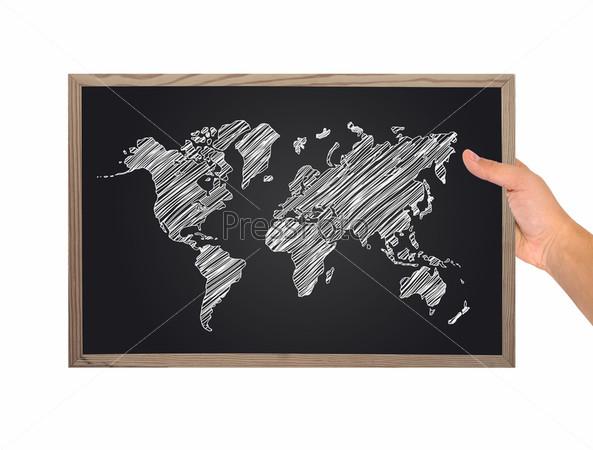 Доска с картой мира