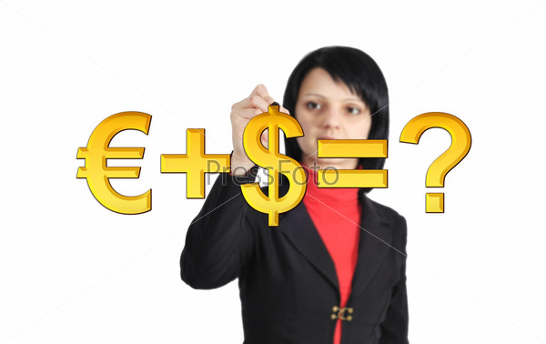 Фотография на тему Женщина рисует формулу