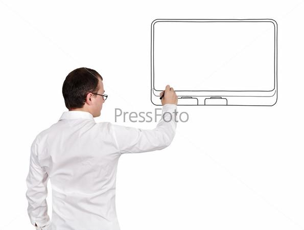 Человек рисует сенсорнуюй панель