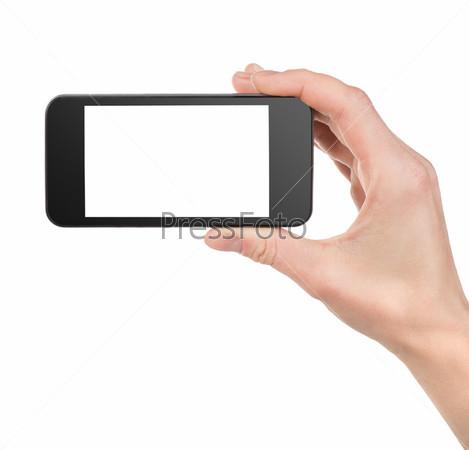 Черный смартфон в руке