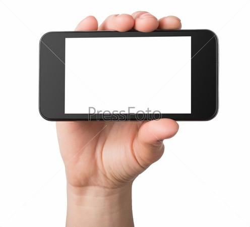 Фотография на тему Черный мобильный телефон в руке, изоляция