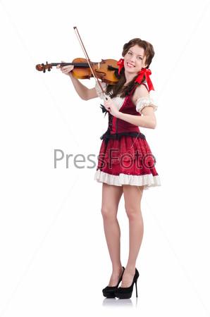 Женщина со скрипкой, изолированная на белом фоне