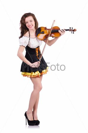 Фотография на тему Женщина со скрипкой, изолированная на белом