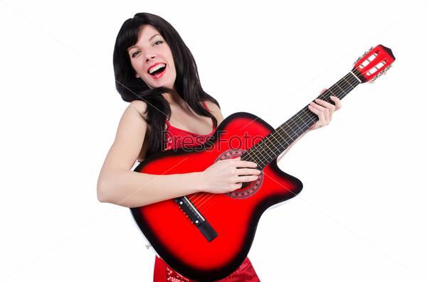 Фотография на тему Молодой певец с гитарой на белом фоне