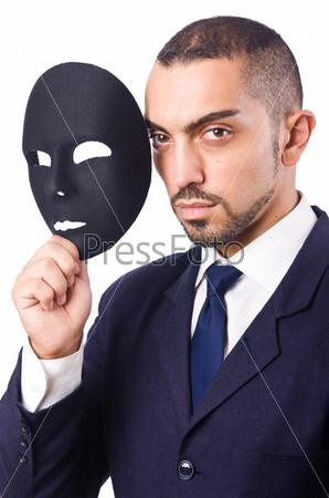Фотография на тему Человек с маской, изолированный на белом