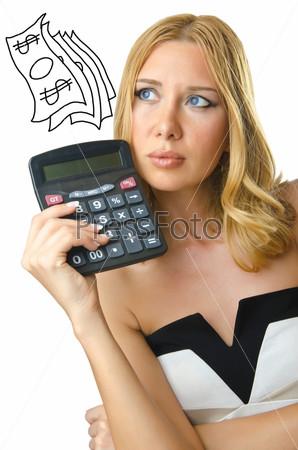 Фотография на тему Женщина бухгалтер с калькулятором на белом