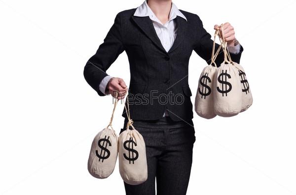 Фотография на тему Женщина с мешками денег на белом