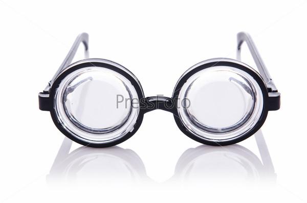 Смешные очки ботаника, изолированные на белом
