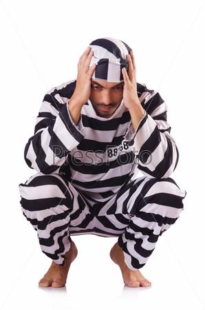 Фотография на тему Заключенный в полосатой форме на белом