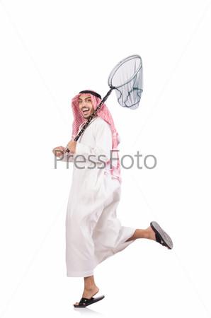 Арабский бизнесмен с сачком на белом