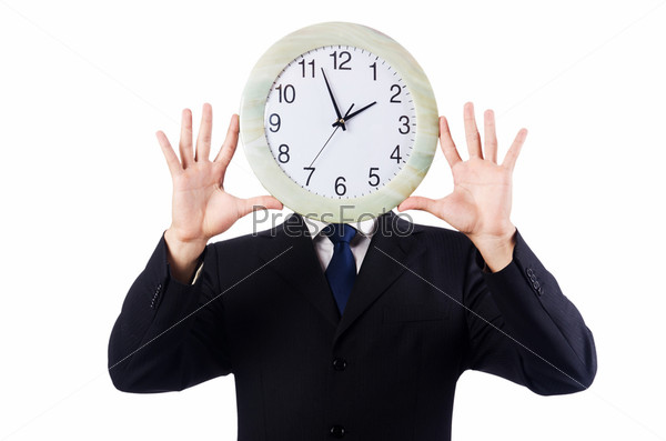 Фотография на тему Человек с часами, изолированный на белом фоне