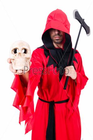 Палач в красном костюме с топором на белом фоне