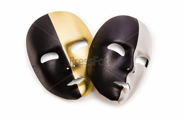 Фотография на тему Блестящие маски, изолированные на белом фоне