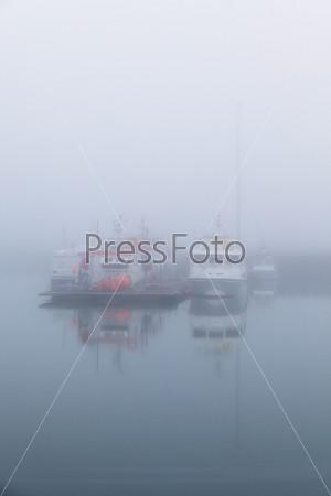 Рыболовные суда туманным утром в гавани