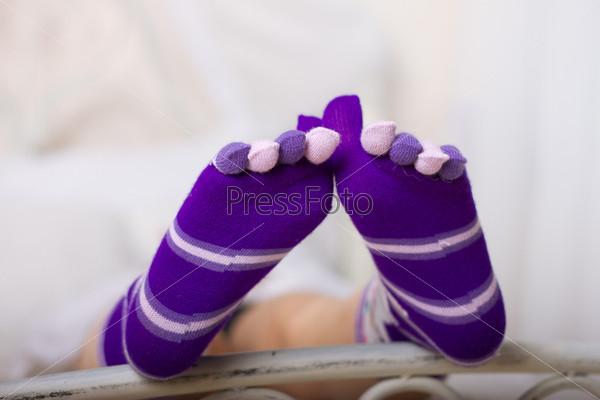 Женские носки с разноцветными раздельными пальцами