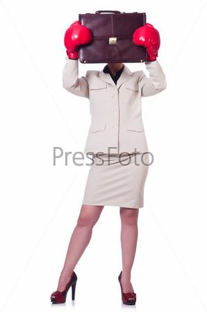 Фотография на тему Деловая женщина в боксерских перчатках на белом фоне