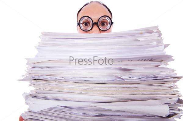 Фотография на тему Забавный человек с большим количеством документов на белом фоне