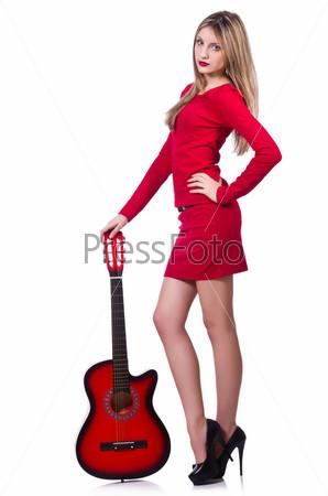 Фотография на тему Гитаристка, изолированная на белом фоне