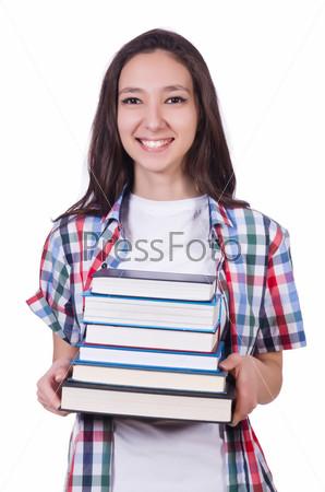 Фотография на тему Студентка с книгами на белом