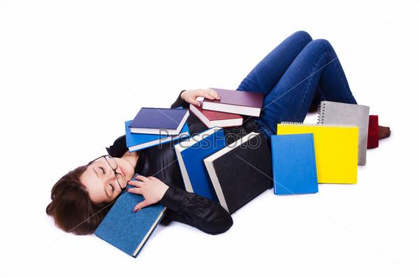 Фотография на тему Молодая студентка, изолированная на белом фоне
