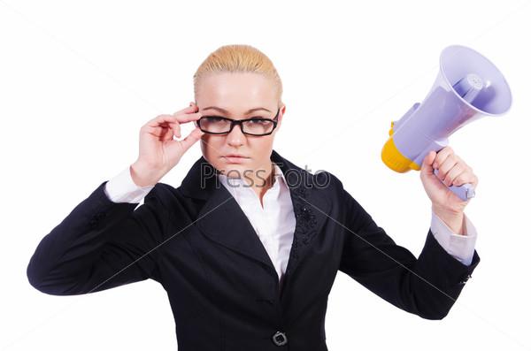 Бизнес-леди с громкоговорителем на белом