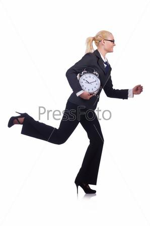Женщина с гигантскими часами на белом