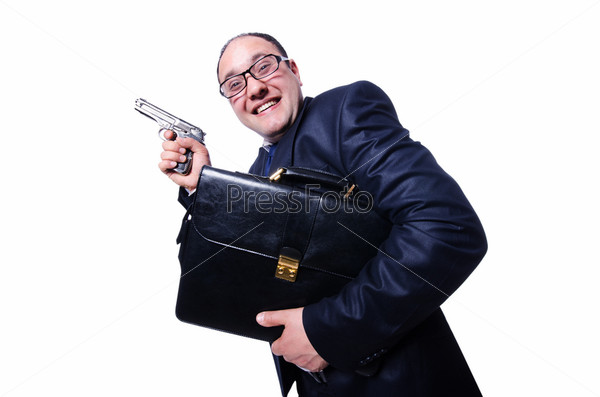 Бизнесмен с оружием, изолированный на белом