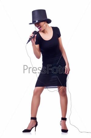 Фотография на тему Темнокожая певица, изолированная на белом фоне
