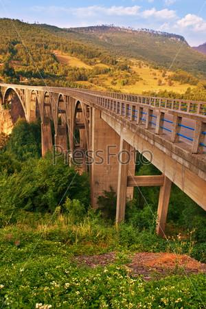 Фотография на тему Длинный мост через реку Тара в Черногории