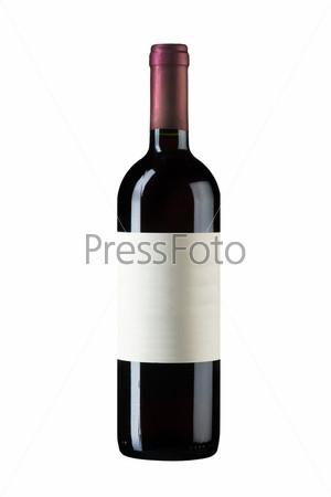 Закрытая бутылка вина на белом