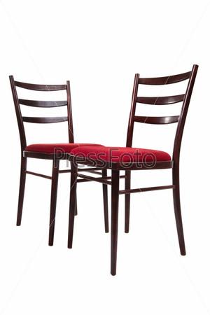 Фотография на тему Два стула, изолированные на белом фоне