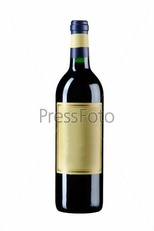 Закрытая бутылка вина, изолированная на белом фоне