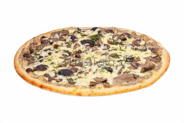 Грибная пицца на белом фоне