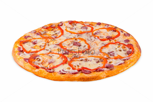 Фотография на тему Сицилийская пицца на белом фоне