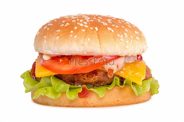 Королевский куриный бургер на белом фоне