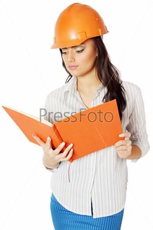 Фотография на тему Женщина в строительной каске