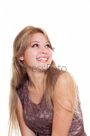 Фотография на тему Красивая женщина смотрит вверх, изолированная